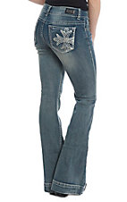 Wired Heart Women's Embroidered Open Pocket Medium Wash Trouser Jean
