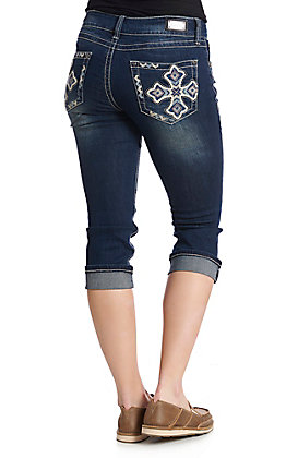 Wired Heart Women's Dark Wash Embroidered Cross Cuffed Capri Jeans