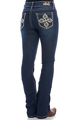 Rockin' C Women's Dark Wash Diamond Cross Boot Cut Jeans