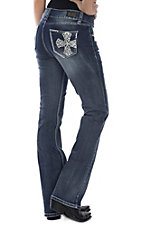 Wired Heart Women's Medium Wash Swirl Cross Boot Cut Jeans