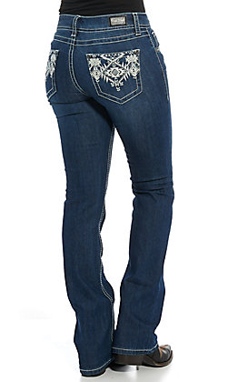 Wired Heart Women's Blue & White Tribal Embroidered Boot Cut Jeans