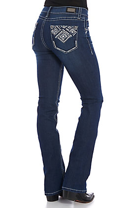 Wired Heart Women's Dark Wash Diamond Embroidered Boot Cut Jeans