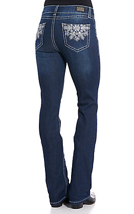 Wired Heart Women's Blue Floral Embroidered Boot Cut Jeans
