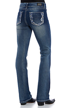 Wired Heart Women's Medium Wash Feathers Embroidered Boot Cut Jeans