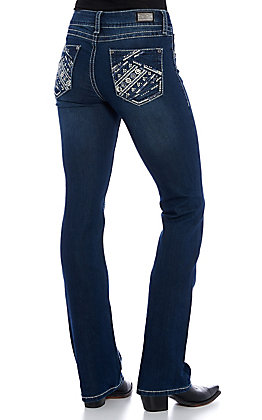Wired Heart Women's Dark Wash Flowers and Stripes Embroidered Boot Cut Jeans