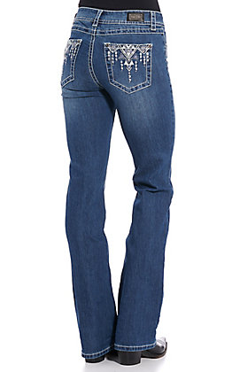 Wired Heart Women's Aztec Embroidered Boot Cut Jeans