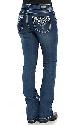 Wired Heart Women's Diamond Embroidered Boot Cut Jeans