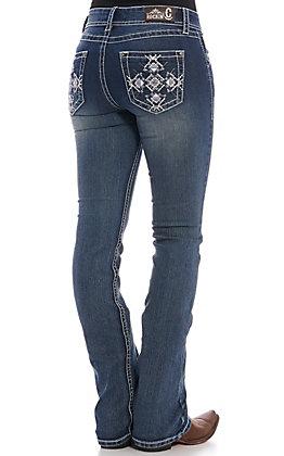 Rockin' C Women's Dark Wash Diamond Cross Boot Cut Jeans