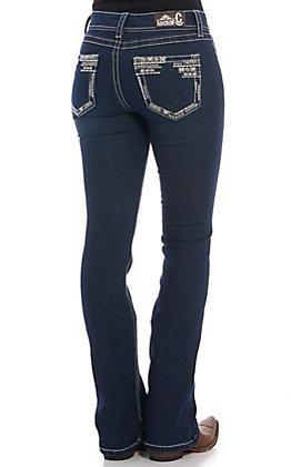 Rockin' C Women's Dark Wash Embroidered Boot Cut Jeans