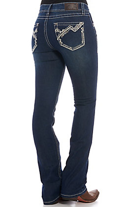Rockin' C Women's Dark Wash Embroidered Boot Cut Jeans