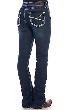 Rockin' C Women's Dark Wash Striped Embroidered Boot Cut Jeans