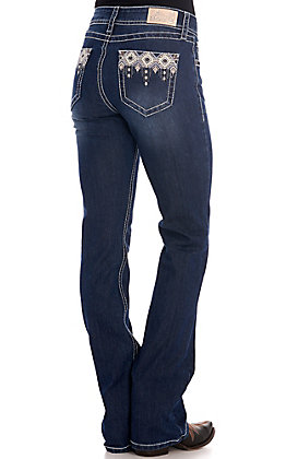 Rockin' C Women's Diamond Geo Easy Fit Boot Cut Jeans