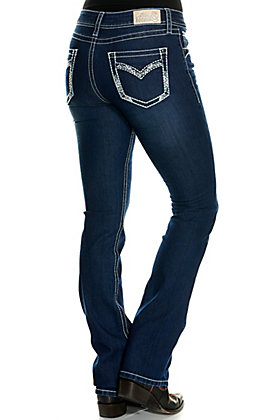 Rockin' C Women's Stitched Flap Open Pocket Easy Fit Boot Cut Jeans