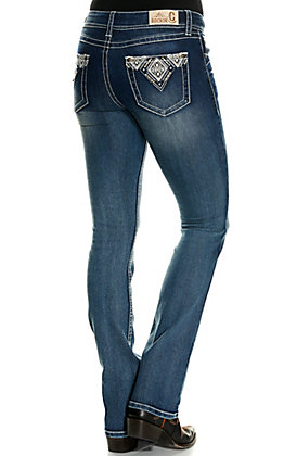 Rockin' C Women's Diamond Geo Embroidered Boot Cut Jeans