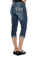 Wired Heart Women's Tribal Stitched Pocket Capri Jeans