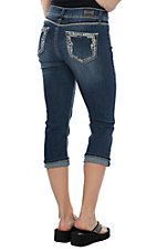 Wired Heart Women's Thick Stitched Edge Pockets Capri Jeans