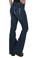 Wired Heart Women's Dark Wash Thick Stitching & Crystals Trouser Jeans