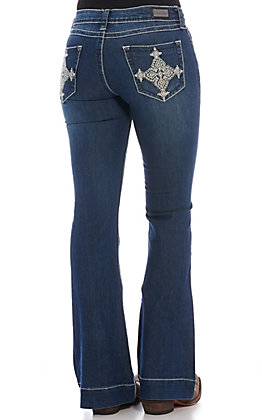 Wired Heart Women's Dark Wash Diamond Cross Trouser Jeans