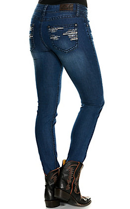 Rockin' C Women's Stitched Lines Easy Fit Skinny Jeans