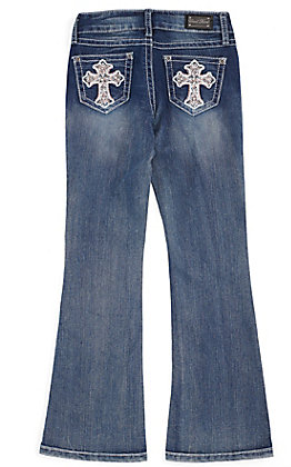 Wired Heart Girls' Rhinestone Cross Pocket Boot Cut Jeans