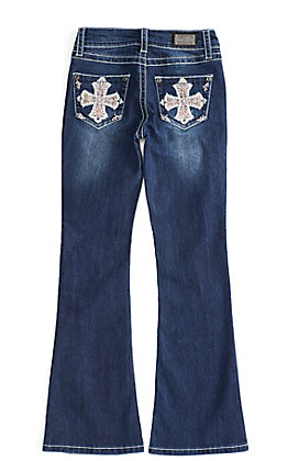 Wired Heart Girl's Dark Wash with Cross Embroidery Boot Cut Jeans