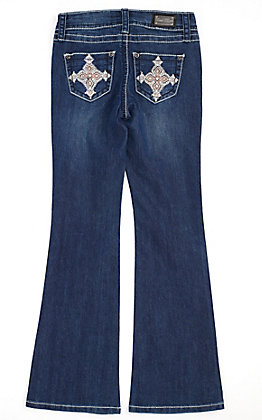 Wired Heart Girls' Diamond Cross Pocket Boot Cut Jeans