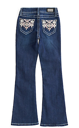 Wired Heart Girl's Dark Wash with Tribal Embroidery Boot Cut Jeans