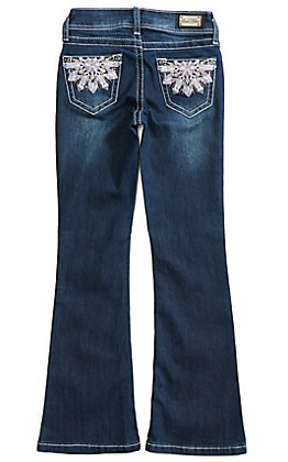 Wired Heart Girls' Floral Embroidered Boot Cut Jeans