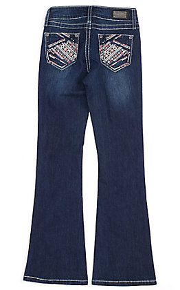 Wired Heart Girls' Pink Embroidered Pocket Dark Wash Boot Cut Jeans