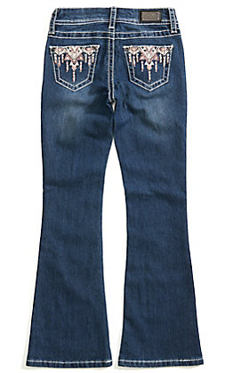 Wired Heart Girl's Pink Aztec Embroidered Boot Cut Jeans