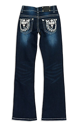 Wired Heart Girls' Dark Wash with White Leather Horseshoe and Cross Boot Cut Jean
