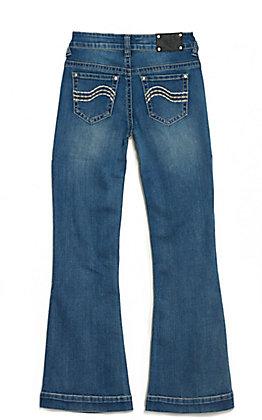 Wired Heart Girl's Medium Wash Trouser Leg Jeans