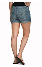 Rock 47 by Wrangler Women's Sweet Escape Embroidered Flap Open Pocket Denim Shorts