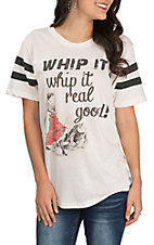 Women's Oatmeal Whip It Real Good Short Baseball Sleeve Casual Knit Tee