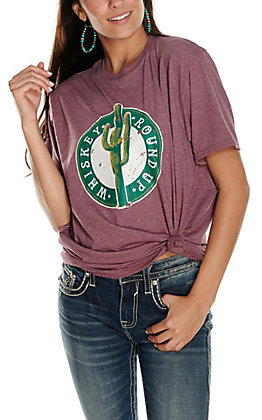 Women's Heather Maroon Whiskey Round Up Cactus Graphic Short Sleeve T-Shirt