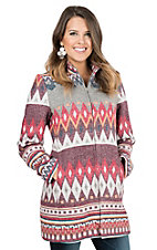 Wired Heart Multi Colored Aztec Print Long Sleeve Zip Jacket
