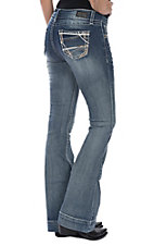 Wired Heart Women's Medium Wash Thick Stitching Trouser Jeans