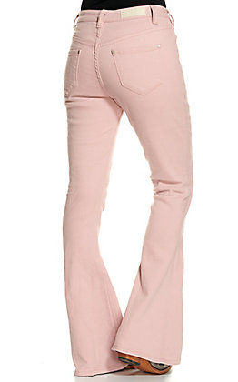 Rock & Roll Denim Women's Light Pink High Rise Flare Leg Jeans