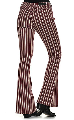 Rock & Roll Denim Women's Maroon with Cream Stripes High Rise Flare Leg Jeans