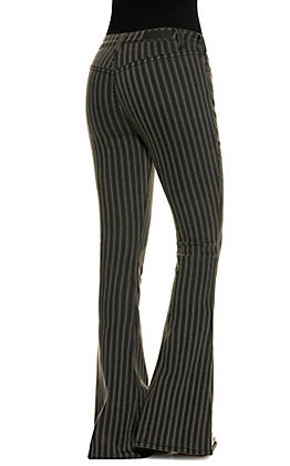 Rock & Roll Cowgirl Women's Multi Charcoal Stripe High Rise Flare Leg Jeans
