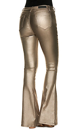 Rock & Roll Cowgirl Women's Metallic Pewter Coated Denim High Rise Flare Leg Jeans