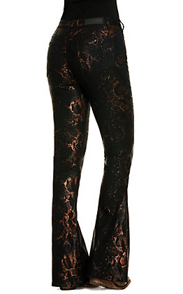 Rock & Roll Cowgirl Women's Black with Metallic Snake Print High Rise Flare Leg Jeans