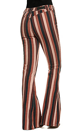 Rock & Roll Cowgirl Women's Maroon and Black Stripe High Rise Flare Jeans