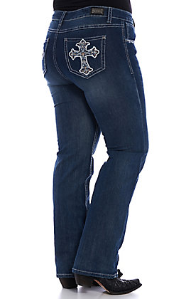 Wired Heart Women's Cross Embellished Boot Cut Jeans - Plus Size