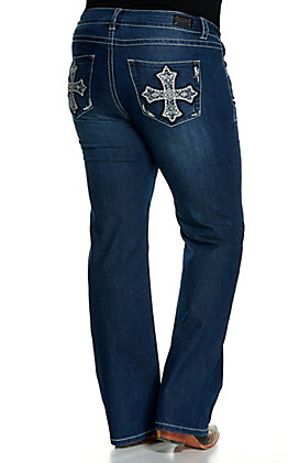 Wired Heart Women's Cross Embroidered Boot Cut Leg Jeans - Plus Sizes