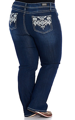 Wired Heart Women's Blue & White Tribal Embroidered Boot Cut Jeans - Plus Sizes