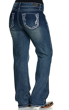 Wired Heart Women's Medium Wash Feathers Embroidered Boot Cut Jeans - Plus Sizes