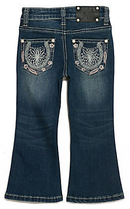 Wired Heart Toddler Girl's Pink Feathers and Horseshoe Pockets Boot Cut Jeans