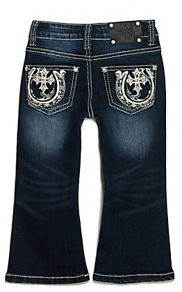 Wired Heart Toddler Girl's Dark Wash Cross and Horseshoe Pocket Boot Cut Jeans