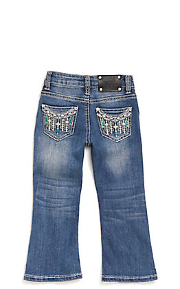Wired Heart Toddler Turquoise Drip Embroidery Boot Cut Jeans